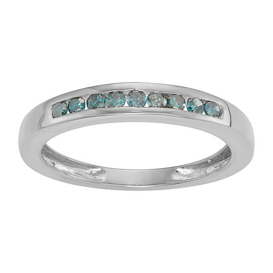 Womens 2MM 1/4 CT. T.W. Genuine Blue Diamond 14K White Gold Over Silver Band