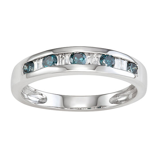 Womens 2.5MM 3/8 CT. T.W. Genuine Blue Diamond 10K White Gold Band