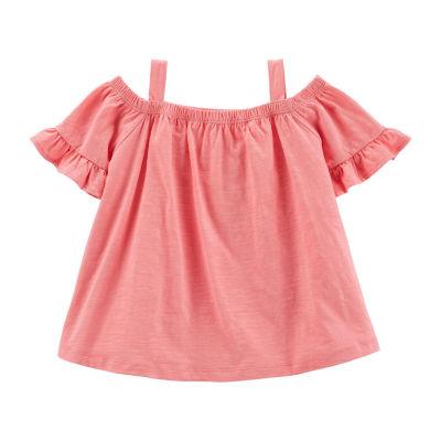 Carter's Girls Straight Neck Short Sleeve T-Shirt Preschool / Big Kid