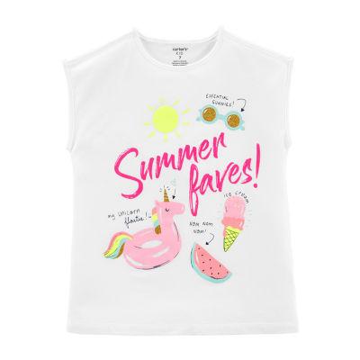 Carter's Girls Crew Neck Sleeveless T-Shirt Preschool / Big Kid