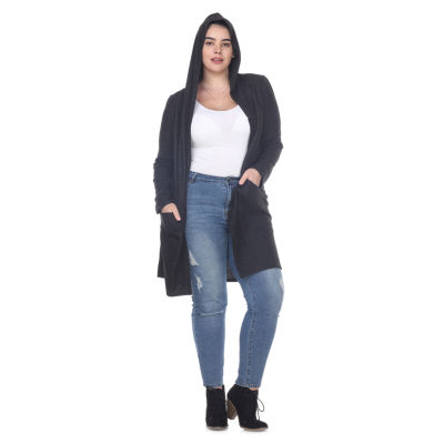 White Mark Womens Long Sleeve Open Front Cardigan-Plus