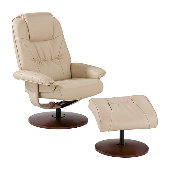 Logan Leather Recliner and Ottoman