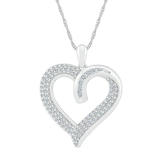 Womens 3/8 CT. T.W. Genuine White Diamond 10K White Gold Heart Pendant Necklace