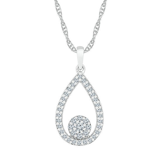 Womens 3/8 CT. T.W. Genuine White Diamond 10K White Gold Pendant Necklace