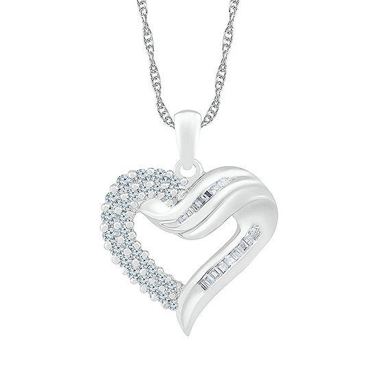 Womens 1/2 CT. T.W. Genuine White Diamond 10K White Gold Heart Pendant Necklace