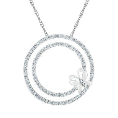 Womens 1/2 CT. T.W. Genuine White Diamond 10K White Gold Pendant Necklace