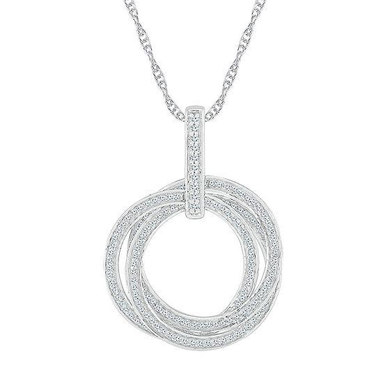 Womens 3/4 CT. T.W. Genuine White Diamond 10K White Gold Pendant Necklace