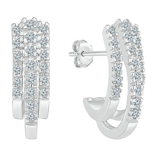 1 2 Ct Tw Genuine White Diamond 10k White Gold 186mm Hoop Earrings