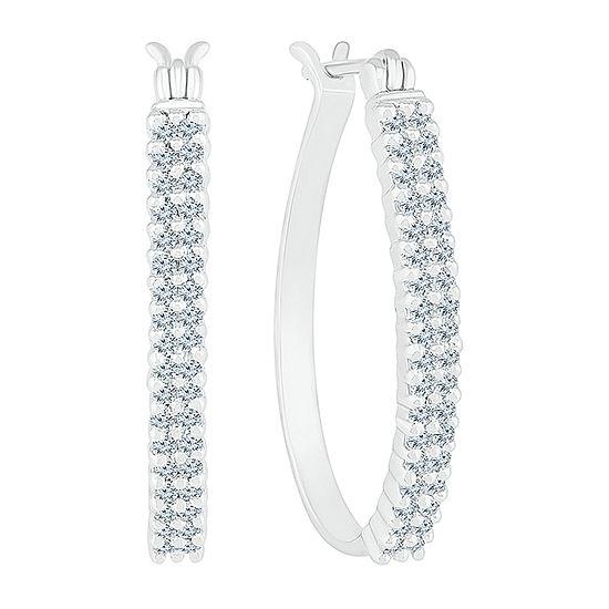 1/2 CT. T.W. Genuine White Diamond 10K White Gold 23.3mm Hoop Earrings