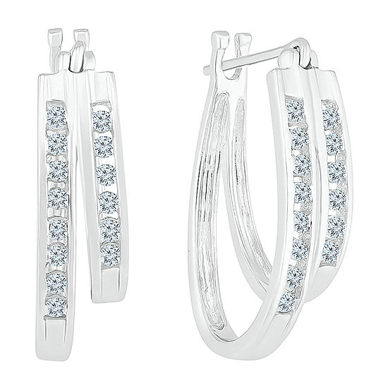 1/2 CT. T.W. Genuine White Diamond 10K White Gold 18.9mm Hoop Earrings