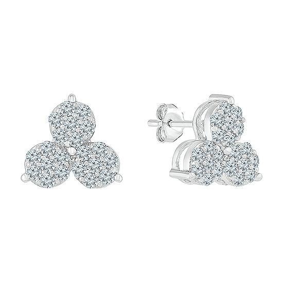5/8 CT. T.W. Genuine White Diamond 10K White Gold 9mm Stud Earrings