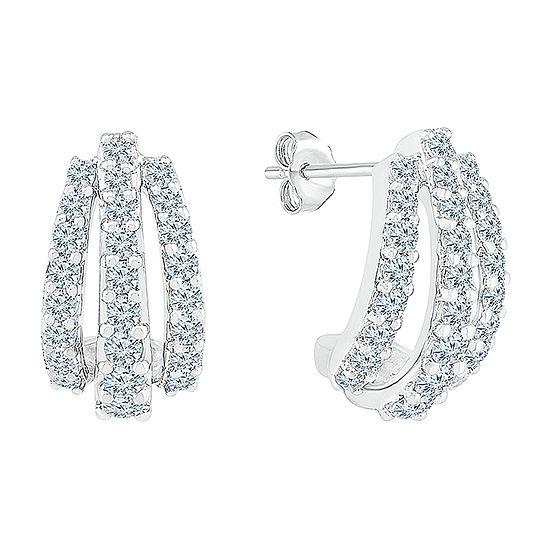 1 CT. T.W. Genuine White Diamond 10K White Gold Drop Earrings