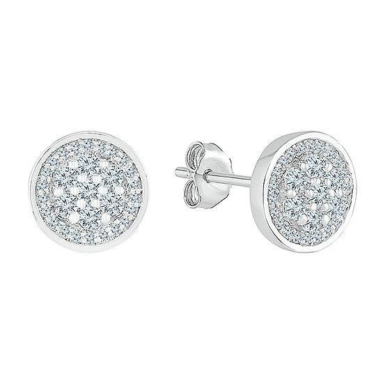 3/8 CT. T.W. Genuine White Diamond 10K White Gold 8.2mm Stud Earrings