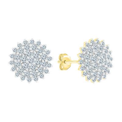 1 1/4 CT. T.W. Genuine White Diamond 10K Gold 12mm Stud Earrings