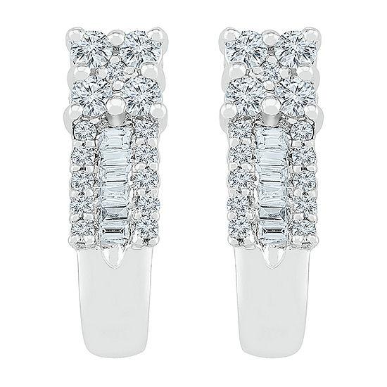 3/8 CT. T.W. Genuine White Diamond 10K White Gold Drop Earrings