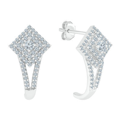 5/8 CT. T.W. Genuine White Diamond 10K White Gold Drop Earrings