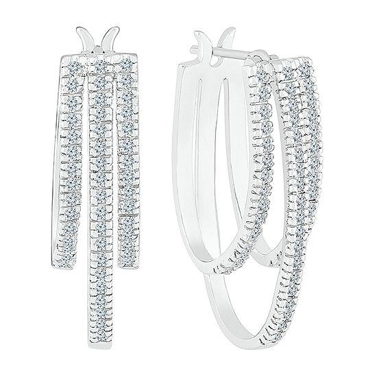 1/2 CT. T.W. Genuine White Diamond 10K White Gold 24.5mm Hoop Earrings