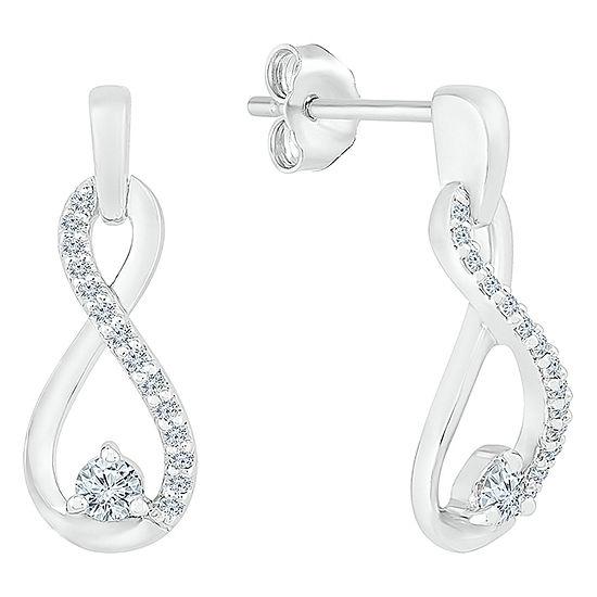 1/6 CT. T.W. Genuine White Diamond 10K White Gold Infinity Drop Earrings