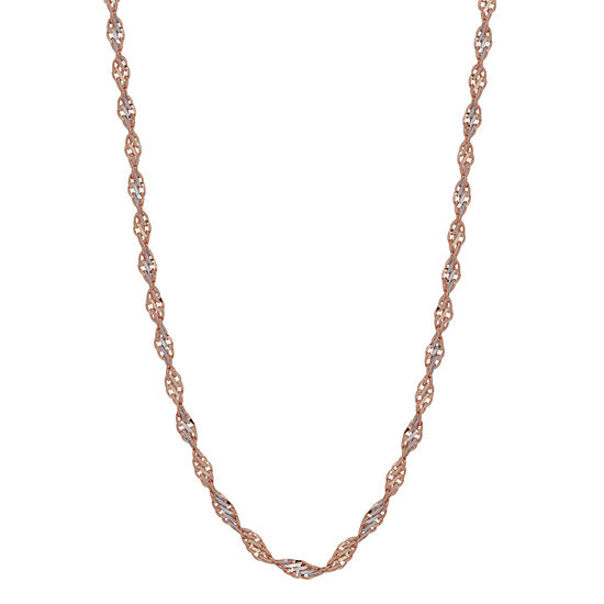 14K Two Tone Gold 20 Inch Solid Link Chain Necklace