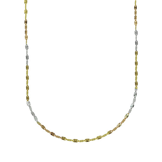 14K Tri-Color Gold 20 Inch Solid Link Chain Necklace