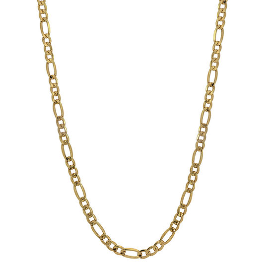 10K Gold 24 Inch Hollow Figaro Chain Necklace