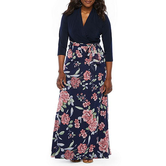 R & K Originals 3/4 Sleeve Floral Maxi Dress