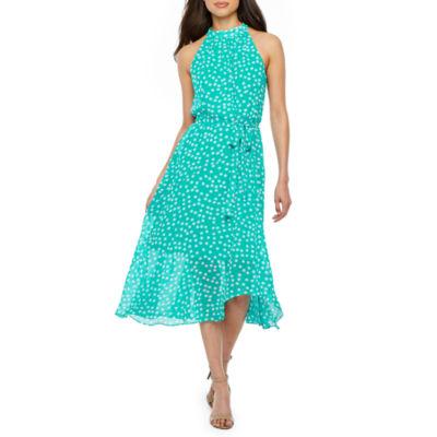 Studio 1 Sleeveless Polka Dot Fit & Flare Dress