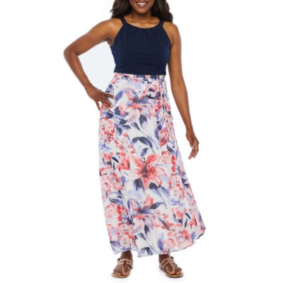 R & K Originals Sleeveless Floral Maxi Dress-Petite