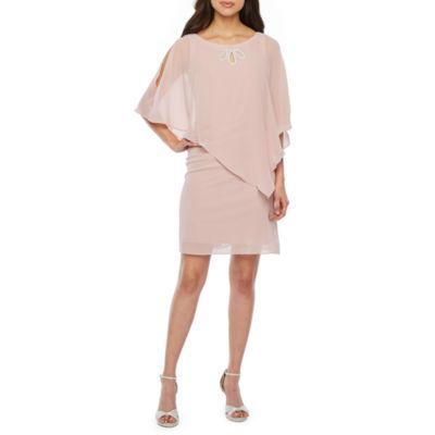 S. L. Fashions 3/4 Sleeve Embellished Cape Sheath Dress