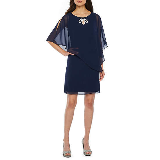 S. L. Fashions 3/4 Sleeve Embellished Sheath Dress