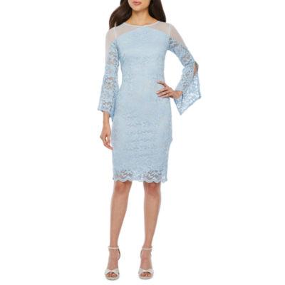Blu Sage Split Sleeve Lace Sheath Dress