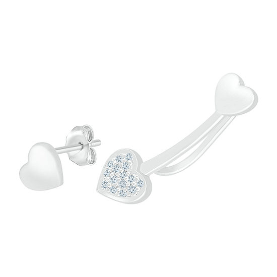 Mismatched Diamond Accent Genuine White Diamond Sterling Silver Heart Drop Earrings