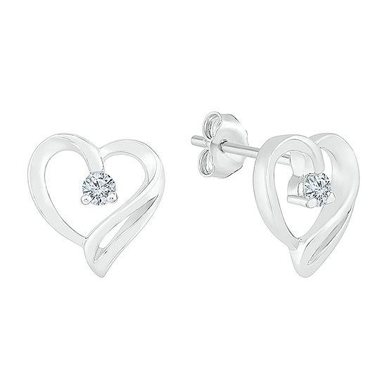 1/10 CT. T.W. Genuine White Diamond Sterling Silver 9.3mm Heart Stud Earrings