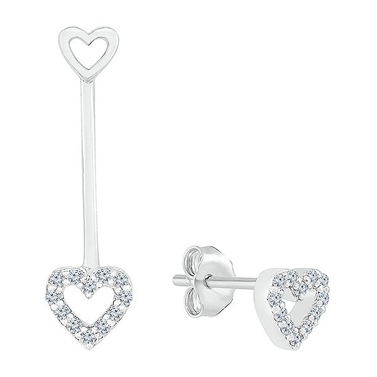 Mismatched 1/10 CT. T.W. Genuine White Diamond Sterling Silver Heart Drop Earrings