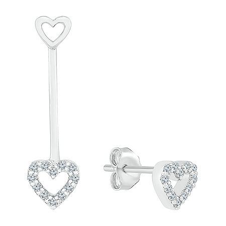 Mismatched 1/10 CT. T.W. Genuine White Diamond Sterling Silver Heart Drop Earrings, One Size