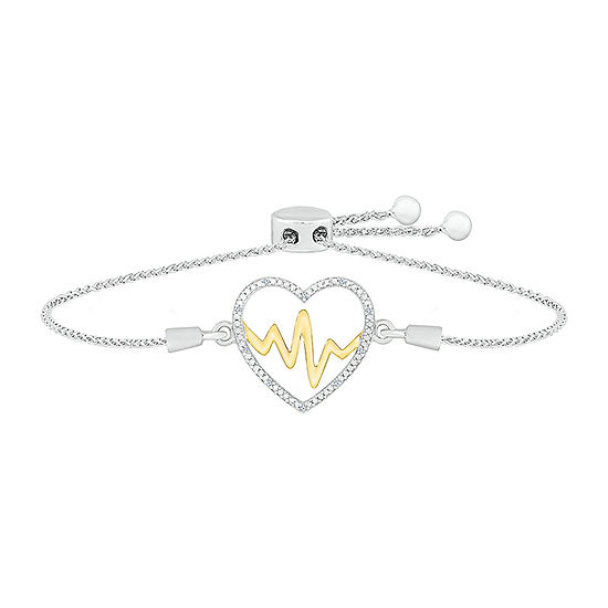Diamond Accent Genuine White Diamond 10K Gold Sterling Silver Heart Bolo Bracelet
