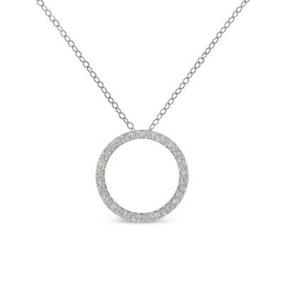 Womens 3/4 CT. T.W. Genuine White Diamond Pendant Necklace