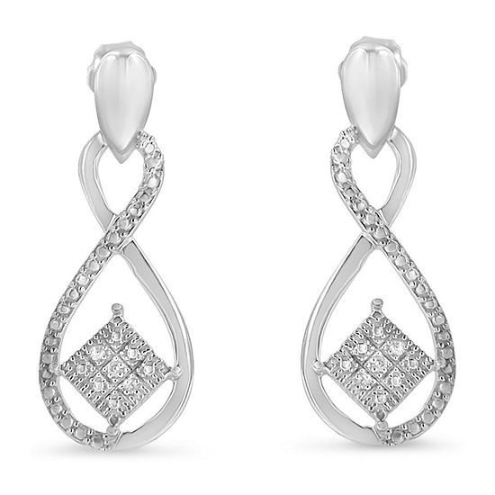 Diamond Accent Genuine White Diamond Sterling Silver Drop Earrings