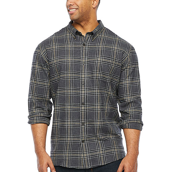 The Foundry Big & Tall Supply Co. Big and Tall Mens Long Sleeve Plaid Button-Down Shirt