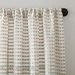 Clean Window Modern Check Pattern Sheer Rod-Pocket Single Curtain Panel