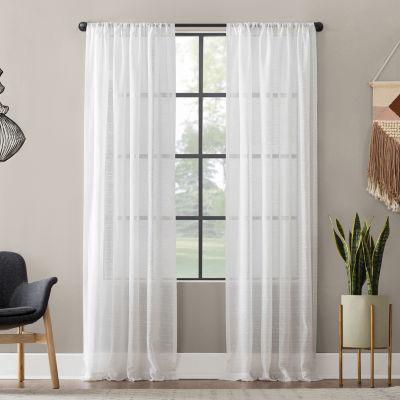 Textured Slub Stripe Anti-Dust Sheer Rod-Pocket Curtain Panel