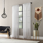 Textured Slub Stripe Sheer Rod-Pocket Curtain Panel