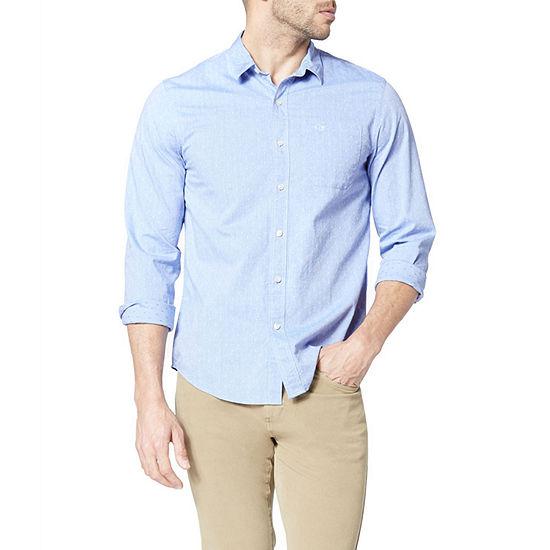 Dockers Supreme Flex Mens Long Sleeve Plaid Button-Front Shirt