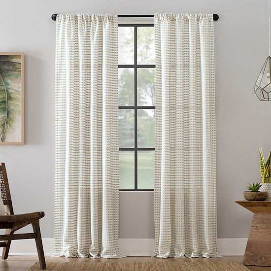 Clean Window Modern Check Pattern Sheer Rod-Pocket Curtain Panel
