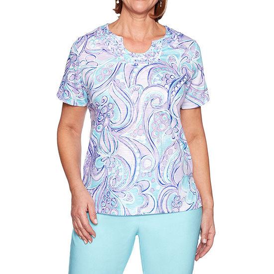 Alfred Dunner Catalina Island Womens U Neck Short Sleeve Layered Top