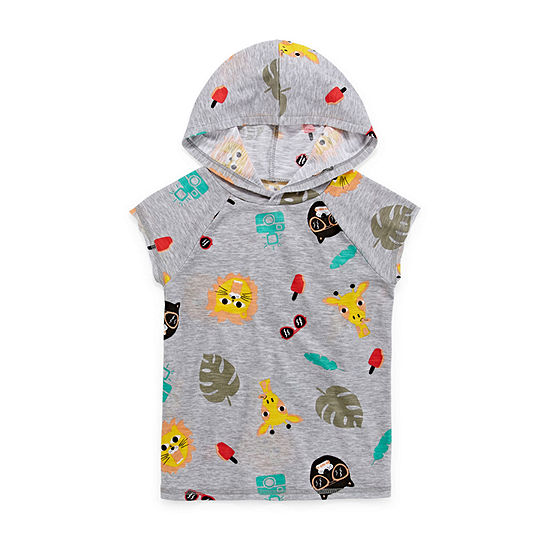 Okie Dokie Boys Hooded Neck Short Sleeve Graphic T-Shirt-Toddler