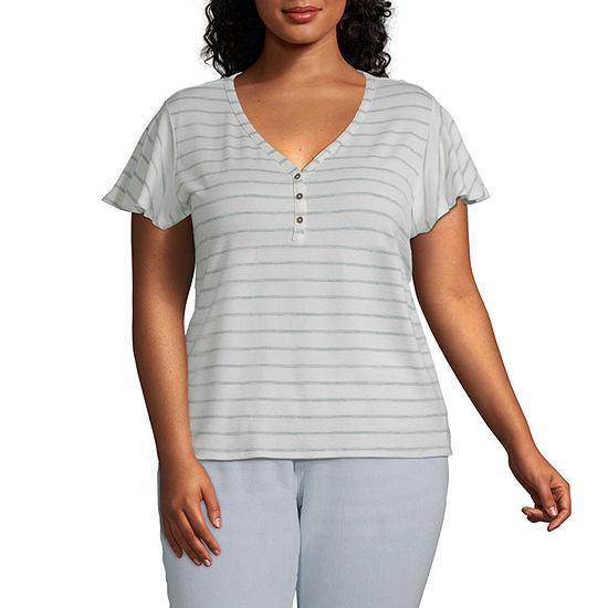 a.n.a-Plus Womens Short Sleeve Flutter T-Shirt