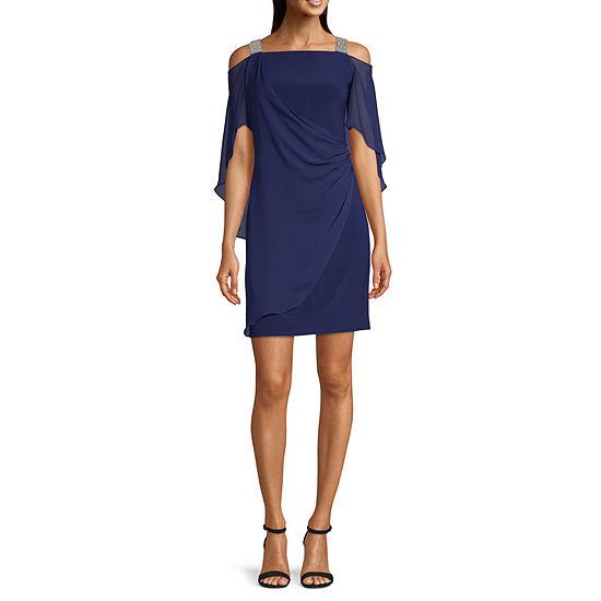 MSK 3/4 Sleeve Cold-Shoulder Embellished Sheath Dress