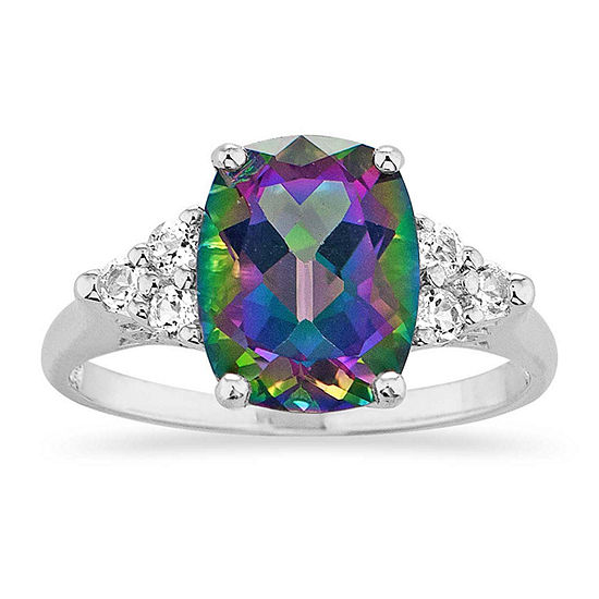 Womens Genuine Green Topaz Sterling Silver Square Cocktail Ring