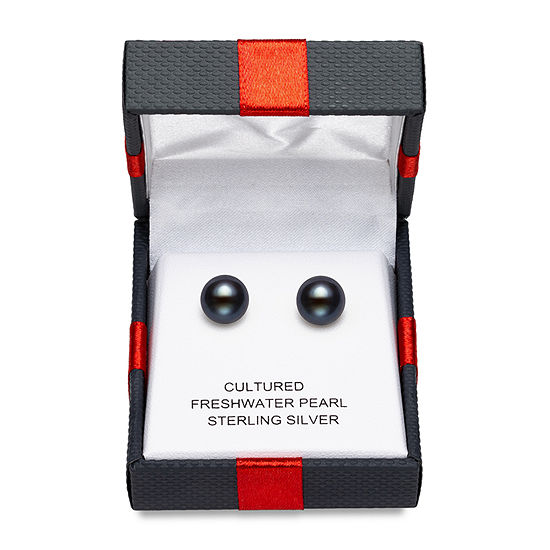 Limited Time Special!! Black Cultured Freshwater Pearl Sterling Silver 9mm Stud Earrings